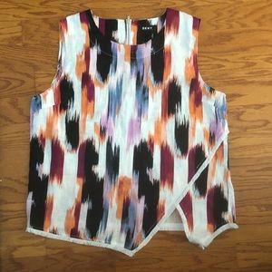 DKNY Women's Pink Size XL Linen Frayed Asymmetric
